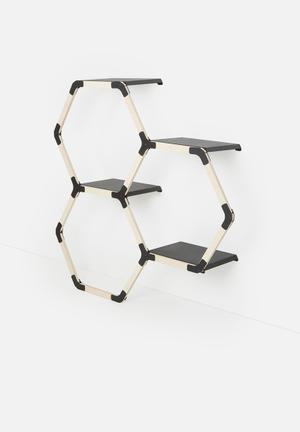 Smart Shelf Octo Trio Wall Shelf Wood & Steel