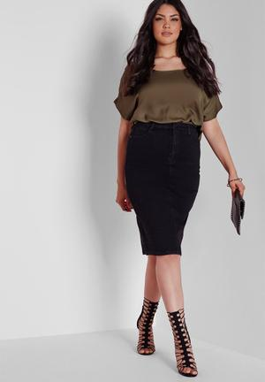 Missguided Plus Size Supersoft Tube Skirt  Black