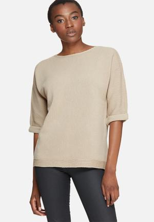 Dailyfriday Slouchy 3/4 Sleeve Knit Knitwear Stone