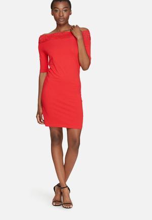Vero Moda Lacy Dress Formal Red