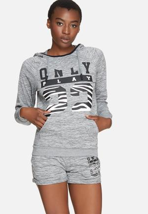 ONLY Play Cristal Hood Sweat Hoodies & Jackets Grey, Black & White