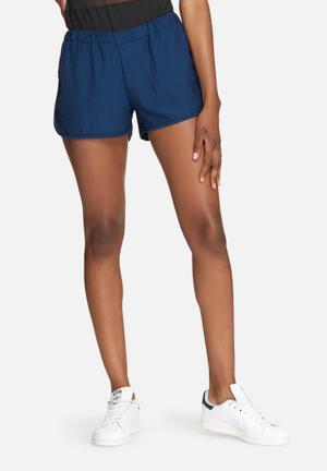 Dailyfriday Hammered Satin Jogger Shorts Navy Blue