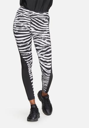 ONLY Play Zebra Tights Bottoms Black & White