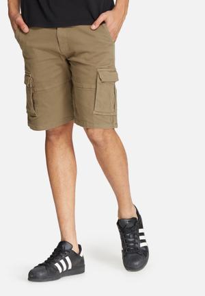 Basicthread Slim Utility Shorts Khaki Brown