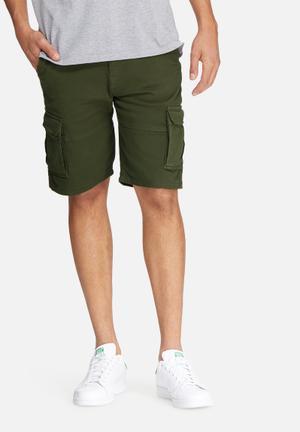 Basicthread Slim Utility Shorts Khaki Green
