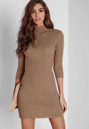 Missguided Mini Turtle-neck Dress Casual Nude
