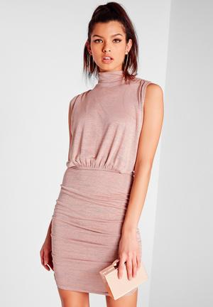 Missguided High-neck Mini Dress Occasion Pink