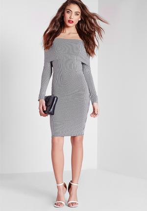 Missguided Stripe Roll Over Bardot Bodycon Dress Occasion Black And White