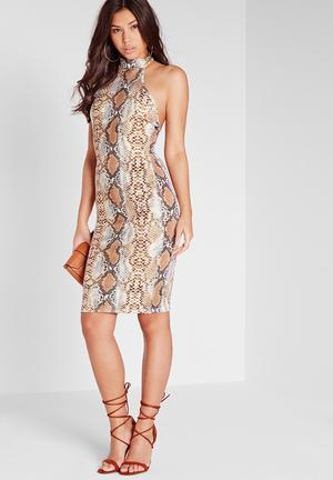 Missguided Snakeskin Bodycon Dress Occasion Brown