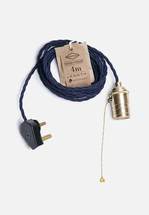 Hoi P'loy Twisted Portable Pendant Lighting Fabric Cord & Brass