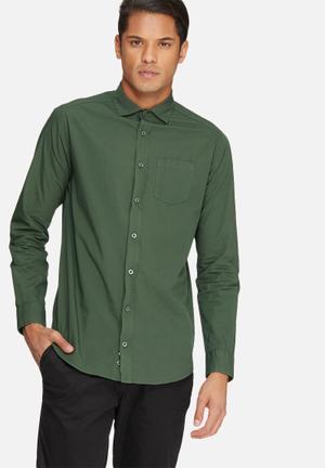 Basicthread Slim Fit Poplin Shirt Khaki Green