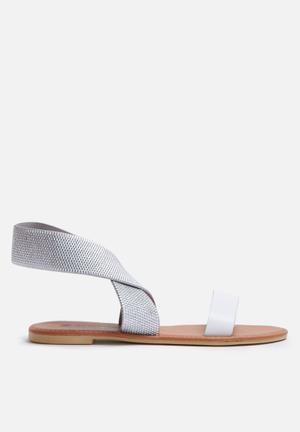 Dailyfriday Mandisa Sandals & Flip Flops Silver & White