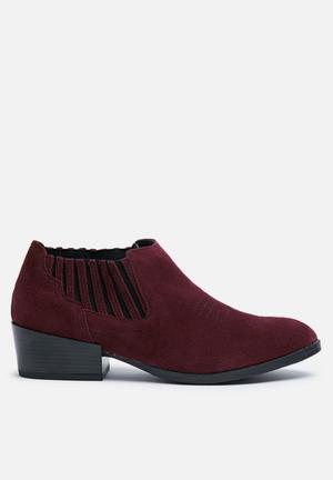 Vero Moda Western Suede Ankle Boot Burgundy