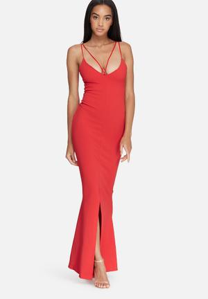 Missguided Front Strappy Fishtail Maxi Dress Occasion Red