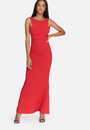 Missguided Low Back Maxi Dress Occasion Red
