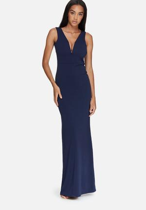 Missguided V Plunge Maxi Dress Occasion Navy