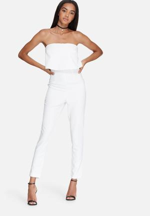 Missguided Bandeau Double Layer Jumpsuit White