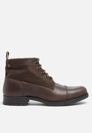 Jack & Jones Footwear & Accessories Sirca Leather Mid Boot Brown