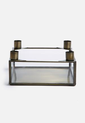 Sarah Jane Brass Square Candle Holder Accessories Brass