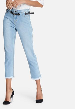 Daisy Street Mom Jeans With Eyelet Waistband & Raw Hems Blue