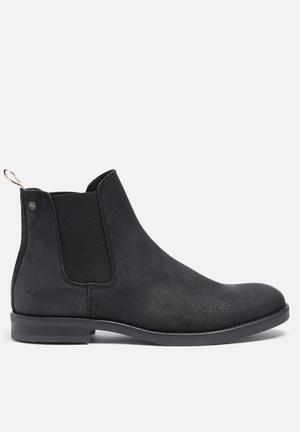 Jack & Jones Footwear & Accessories Paul Waxed Suede Chelsea Boot Black