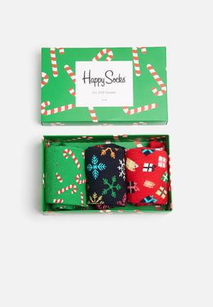 Happy Socks Holiday Gift Box Socks Green, Red & White