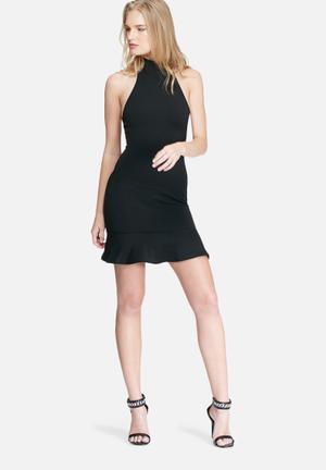 Missguided Fishtail Hem Halterneck Bodycon Dress Occasion Black