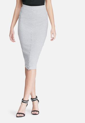Missguided Ribbed Popper Through Maxi Skirt Grey