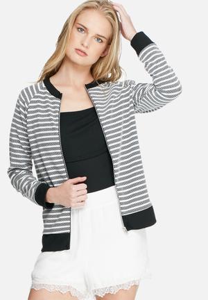 Daisy Street Zip Stripe Sweat Top Hoodies & Jackets Black & White