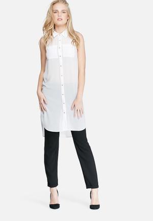 Dailyfriday Sleeveless Pocket Tunic Top Blouses White
