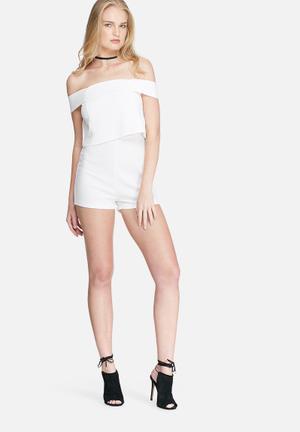 Missguided Crepe Bardot Playsuit White