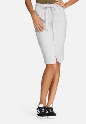 Dailyfriday Linen Pleated Skirt Grey