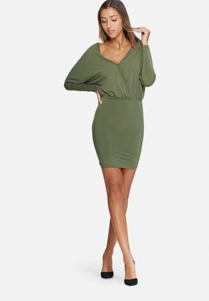Dailyfriday Long Sleeve V-neck Bodycon Dress Occasion Khaki