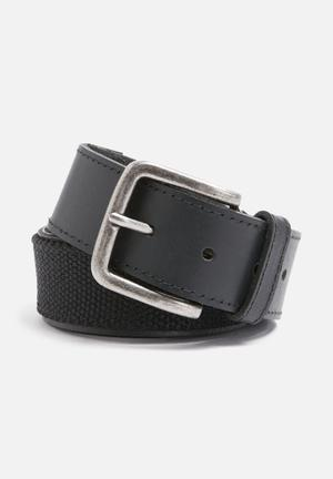 Leather and canvas belt