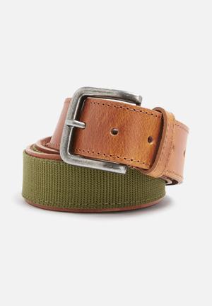 Basicthread Leather And Canvas Belt Tan & Khaki