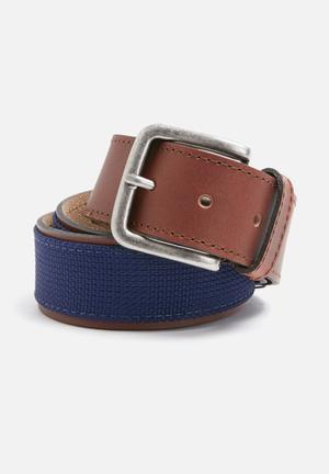 Basicthread Leather And Canvas Belt Navy & Tan