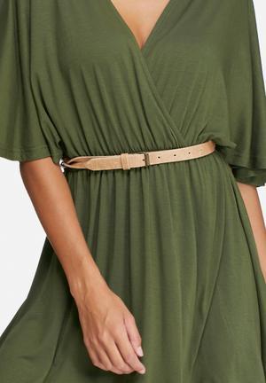 Dailyfriday Twist Detail Leather Belt Tan