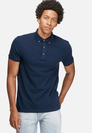 Basicthread Regular Fit Polo T-Shirts & Vests Navy
