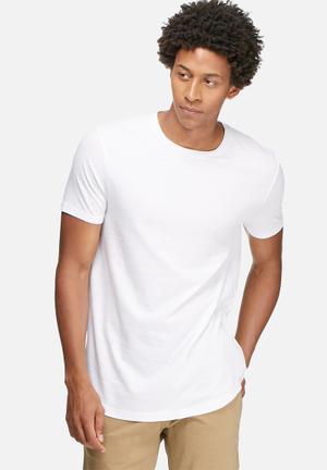 Basicthread Curved Hem Longline Tee T-Shirts & Vests White