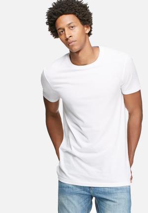 Basicthread Longline Crew Neck Tee T-Shirts & Vests White