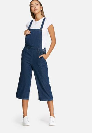 Vero Moda Grace Cropped Denim Dungaree Jumpsuits & Playsuits Blue
