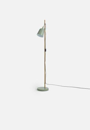 Present Time Floor Lamp Wood-like Metal Lighting Metal