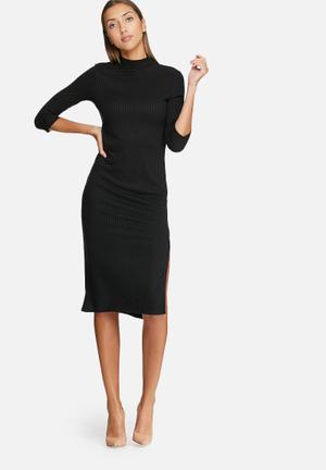 VILA Jersey 3/4 Sleeve Dress Casual Black