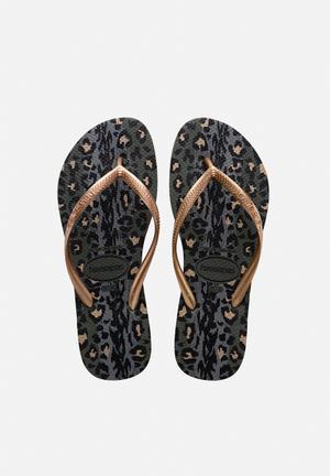 Havaianas Women's Slim Animals Sandals & Flip Flops Olive Green & Rose Gold