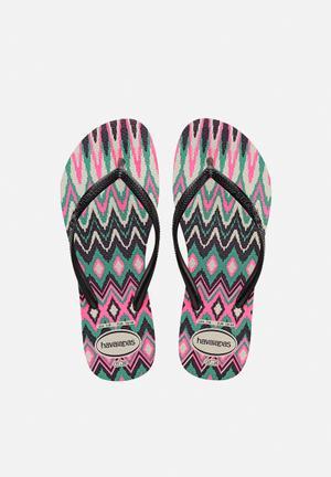 Havaianas Women's Slim Tribal Sandals & Flip Flops White, Black & Pink
