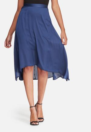 Dailyfriday Satin High Low Skirt With Side Slits Navy