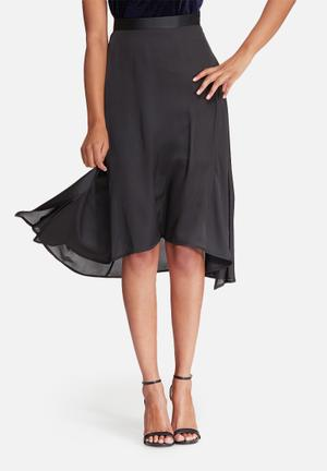 Dailyfriday Satin High Low Skirt With Side Slits Black