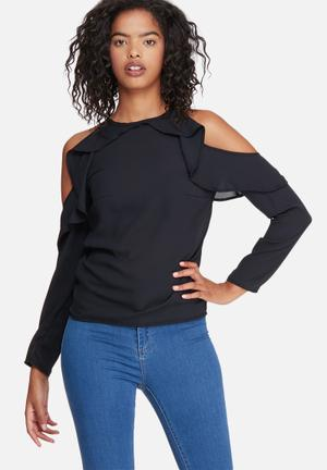 Dailyfriday Fitted Cold Shoulder Ruffle Blouse Black