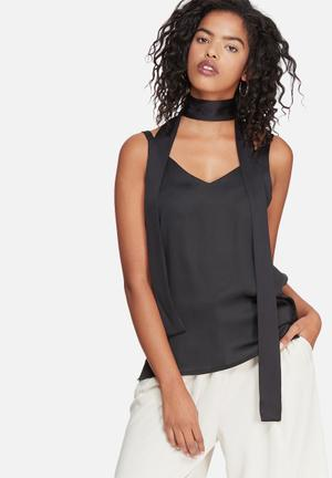 Dailyfriday Satin Cami With Self Fabric Neck Tie Blouses Black
