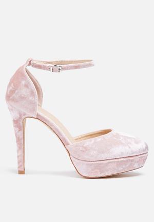 Glamorous Cece Velvet Platform Heels Pink